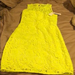 🌻🌻NWT J Crew neon yellow lace dress. Size 6